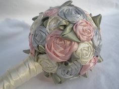 Satin Rose Bridal Bouquet. $80.00, via Etsy.