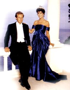 .Stefano Casiraghi with wife Princess Caroline of Monaco in1988 photo shoot