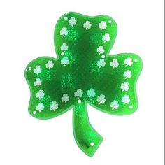 "15"" Lighted LED Holographic Green Shamrock St. Patrick's Day Window Silhouette - Walmart.com"