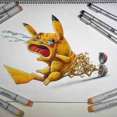 """""""Pikachu get catched"""" a copic marker illustration on Behance"""