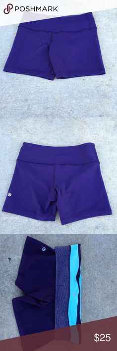 Lululemon Athletica yoga shorts cute yoga shorts from lululemon in purple // size 4 // EUC // inseam is turquoise  and light purple // with small waist pocket :) lululemon athletica Shorts