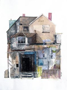 Building collages by seth clark collage/mixed media коллаж, Pittsburgh, Photographie Street Art, Printable Images, Art Aquarelle, House Drawing, House Sketch, A Level Art, Illustration, Urban Landscape