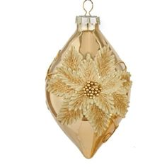 """5.5"""" Glamour Time Glittered Gold Poinsettia Glass Tear Drop Christmas Ornament"""