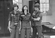 """driveintheaterofthemind: """" Penny Marshall Cindy Williams And Vicky Lawerence Laverne And Shirley Press Photo """" Penny Marshall, Cindy Williams, Laverne & Shirley, Press Photo, Military Jacket, Actresses, Black And White, The Originals, Stars"""