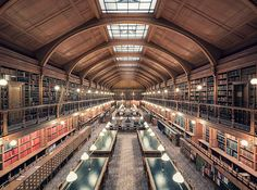 Over the past year, Thibaud Poirier has traveled all across Europe to capture 25 of the world's most magnificent libraries. From the opulent Literature Room, of the Library of Sorbonne, in Paris, to the minimalist and modern architecture of… Modern Library, Library Design, Library Ideas, Library Architecture, Interior Architecture, Interior Design, Amazing Architecture, World Library, Awesome