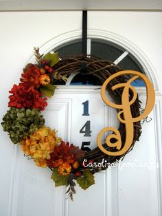 Fall Monogrammed Wreath Fall Hydrangea by CarolinaMoonCrafts