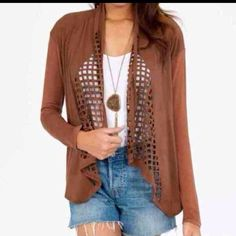 Tobi laser cut jacket top Toby laser cut jacket top. Size med would for small med. Like new condition Tobi Tops Blouses