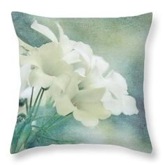 Flower Throw Pillow featuring the mixed media Almost Spring by Terry Davis @terryikon