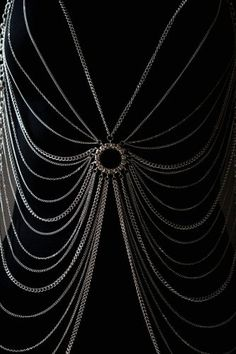 Body Chain Crystal Circle Silver Draping Chains Armor Jewelry Designer Avant Garde Statement