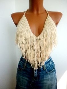 Summer Festival Top Fringes Top Halter Tank Backless by EliSmile, $28.00