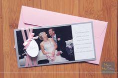 Carte de remerciement mariage en gris, blanc et rose