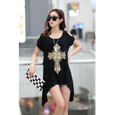 USD7.99 Fashion Boat Neck Short Sleeve Geometric Cross Black Cotton T-Shirt