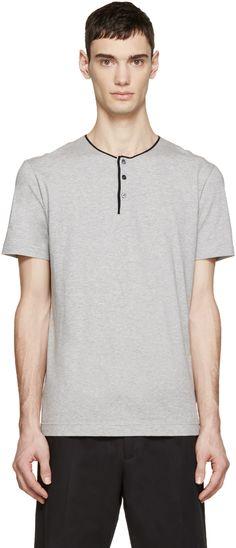 Dolce  amp  Gabbana  Grey Henley T-Shirt   SSENSE Dolce And Gabbana Man 6ee43805152