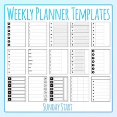 7 day weekly planners / Templates / layouts clipart set - 15 pieces of black and white / line art / blackline master clip art in a pack or bundle for your worksheets or educational resources.  All images or pictures are high resolution so you can have large illustrations of them and they'll still be clean and beautiful.Images are in PNG format with a transparent background (there aren't white areas around the outside edge) so they can be dropped into your documents easily, and layered with…