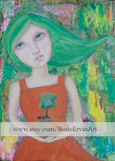 This is a print of an original mixed media portrait of a girl holding a tree. Titled Remembrance.