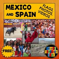 Inspire your students to learn about the Spanish speaking countries with these colorful photos and interesting facts for Spain and Mexico. * 6-8 colorful photos representing the people, places, food, and festivals from Mexico and Spain* 4 Mexico video clips, 4 Spain video clips* Large and small colored country flags* 5 interesting facts about each country in Spanish and in English* Ideas and lyrics for Spanish flag songs for older and younger students (music not included)* Black and white…