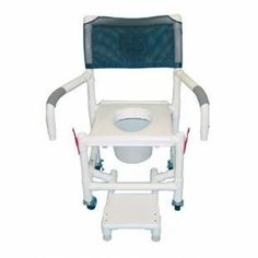"Shower Chair with Vacuum Seat & Sliding Footrest -   Healthcare grade. Deluxe extra heavy duty vacuum seat. Anti-slip handgrips. Push/Pull handle and fast drying removable mesh back/sling. User friendly self storing sliding footrest support prevents foot dragging and entrapment. Reinforced at all stress related areas. Dual drop arm. Internal width: 20"". Exernal width: 22"". Threaded stem casters: Rustproff 3 twin design. Overall size: 40""."