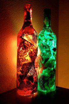 NEW Wine Bottle Light, Wine Bottle Lamp, Decoupage Wine Bottle with Lights, Decoupage on Lamp, Lokta Paper via Etsy