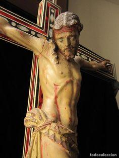 Arte: ESCUELA GRANADINA DEL SIGLO XVIII. CRISTO TALLADO EN MADERA Y POLICROMADO EN CRUZ DE TARACEA - Foto 3 - 244676835 Statue, Christ, 18th Century, School, Art, Sculptures, Sculpture