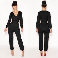 New Women Sexy Jumpsuit V Neck Long Sleeve Catsuit Black Party Bodysuit Rompers