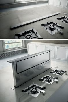 Kitchen Design Idea - Hide The Range Hood // This range hood only comes out when it's needed. When it isn't being used it disappears down under the counter to create a clean look. Kitchen Cabinet Interior, Kitchen Cabinet Accessories, Kitchen Decor, Kitchen Design, Kitchen Organization Pantry, Kitchen Storage, Grey Kitchens, Home Kitchens, Kitchens