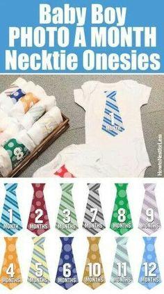 Baby boy photo a month necktie onesies