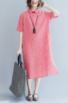 Fabric: Fabric has some stretch Season: Autumn, Spring, Summer Type: Dress Pattern Type: Plain Sleeve Length: Long Sleeve Color: Red Grid Style: Casual Material: Cotton Linen Neckline: One Shoulder Si