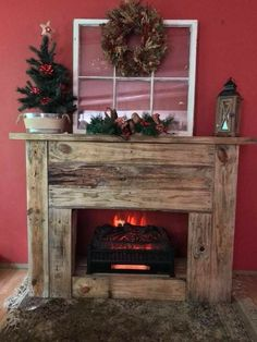 Trends You Need To Know Fake Fireplace Christmas Decor Diy 83 Pallet Fireplace, Faux Fireplace Mantels, Small Fireplace, Rustic Fireplaces, Farmhouse Fireplace, Christmas Fireplace, Fireplace Wall, Fireplace Surrounds, Fireplace Design