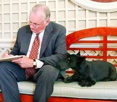 Neil Armstrong and his Scottie.-- Actually, this is George Bush's Scottie visiting in with Neil in the white house