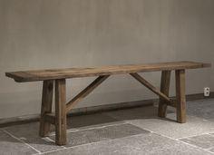 Oud houten bankje | Woonland