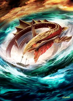 Charybdis by Genzoman A sea monster whose inhalations formed a deadly whirpool