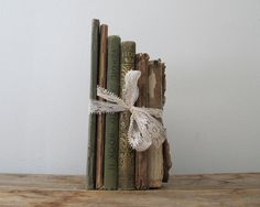 worn old books tied with a bow. gift?