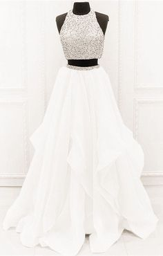 Chic Organza Ruffles Two Piece Prom Dresses With Sequins And Beads white prom dresses two piece ball gowns with sequin and beaded 2019 new arrivals Prom Dresses Two Piece, Prom Dresses For Teens, Prom Outfits, Hoco Dresses, Beautiful Prom Dresses, Quinceanera Dresses, Dance Dresses, Ball Dresses, Ball Gowns