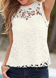 WEBNODE :: Panel de blusa blanca de cuello redondo de encaje :: Fashionerly