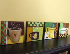 Original Painting FOR the LOVE of COFFEE Four 5x5 by nJoyArt #coffee #art #decor
