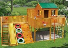 1.Make a back wall in sand area of shelves for storage. 2.Put a chalk board on the outside of the steps. 3.Back side of slide area is music center. 4.Right side of fort is tall vertical climbing wall.5. lft side top of steps make swinging bridge to a small tower fort. 6. f back of deck area, is a curly enclosed slide exit under fort 7.sides of the net put fireman pole and a knotted climbing rope.