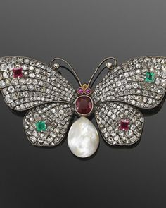 19th Century Jeweled Butterfly Brooch With A Natural Pearl | Fred Leighton