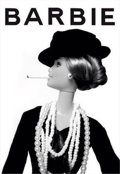 Barbie in Chanel with cigarette. Patterned after Chanel ad. Karl Lagerfeld, Christian Dior, Mademoiselle Coco Chanel, Gabrielle Bonheur Chanel, Miu Miu, Popular Girl, Barbie Collection, Barbie Friends, Louis Vuitton
