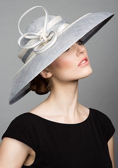 Rachel Trevor Morgan Millinery S/S 2015, R1563 Grey and white ring bell hat with twist