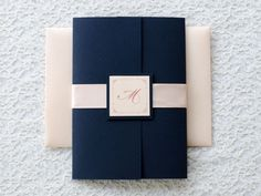 Clic Navy Blue Blush Pink Laser Cut Wedding Invitation Ewws072