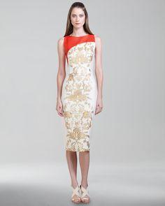 Carolina Herrera Baroque Jacquard Dress- Revenge S3 E1 Emily's dress