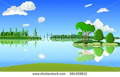 Vector summer background. Landscape with a lake. The island with trees. Clear weather.