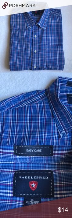 Men's Blue/Purple Plaid Dress Shirt Excellent condition! Size XL Saddlebred Shirts Dress Shirts