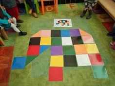 Reuzenpuzzel elmer: Gooien met kleurendobbelsteen tot we een olifant gepuzzeld hebben