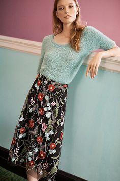 Slide View: 6: Poppy Embroidered Skirt