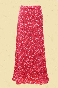 Aardbeien roze rode maxi - rok met stip