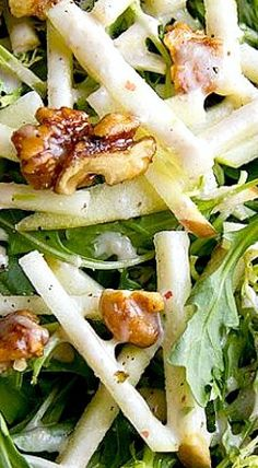 Honey Crisp Apple Salad with Candied Walnuts and Sweet Spiced Cider Vinaigrette❊ Sweeten your salad dressing naturally with Madhava | madhavaseeteners.com
