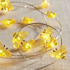 Bee 10' LED Glimmer Strings Yellow