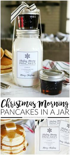 Christmas Morning Pancakes in a Jar Gift Idea with Printables  |  #ad #Christmas #GiftIdea