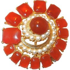 Pinwheel Carnelian and Pearl Pin by BSK.Vintage Costume Jewelry under $25 at Ruby Lane www.rubylane.com @rubylanecom